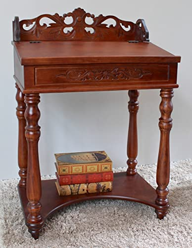 International Caravan Hand Carved Small Wood Writing Desk