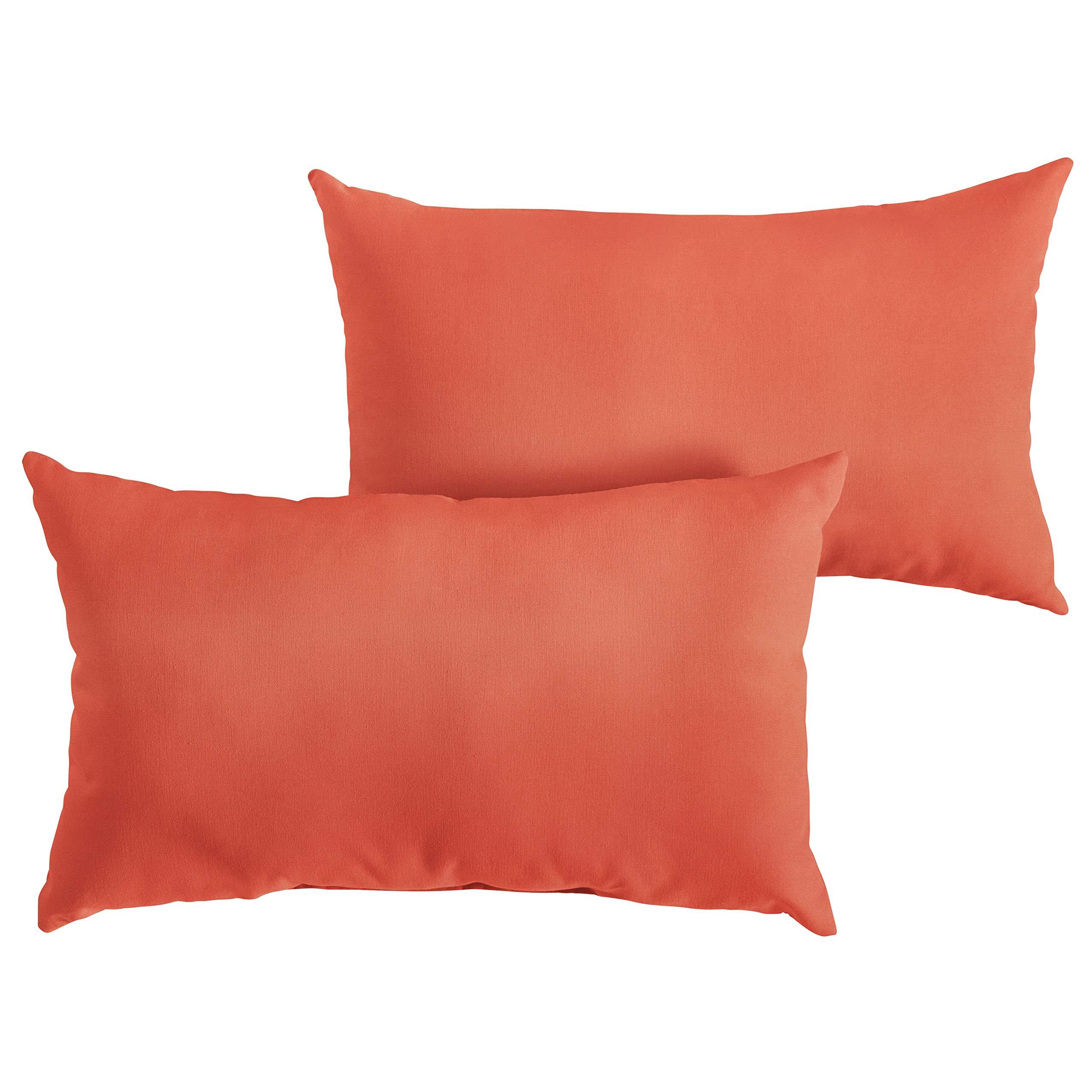 1101Design Sunbrella Canvas Melon Knife Edge Decorative Indoor/Outdoor Rectangle Lumbar Pillow, Perfect for Patio Decor - Melon Orange 14'' x 24'' (Set of 2)