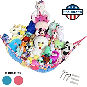 HOME4 Stuffed Animal Toy Storage Hammock Net with Fun Poms Poms - Organize Small, Large, Or Giant Stuffed Animals (Pink)