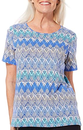 6432140b6c1 Alfred Dunner Petite Turtle Cove Geometric Print Top Small Petite  Blue Beige White