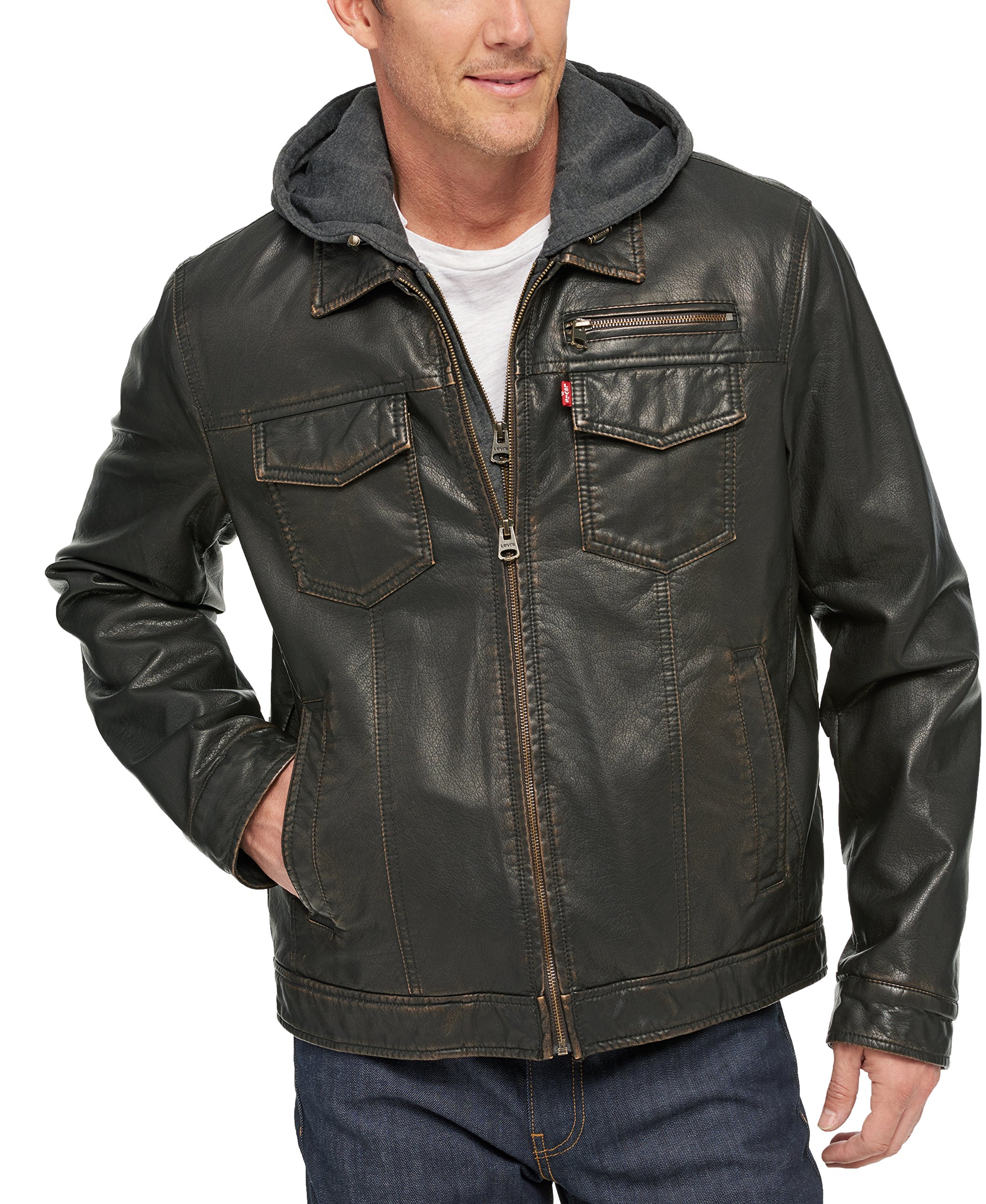 Levi's Men's Levs Faux Leather Two Pocket Trucker Hoody with Sherpa Lining, Dark Brown, Small