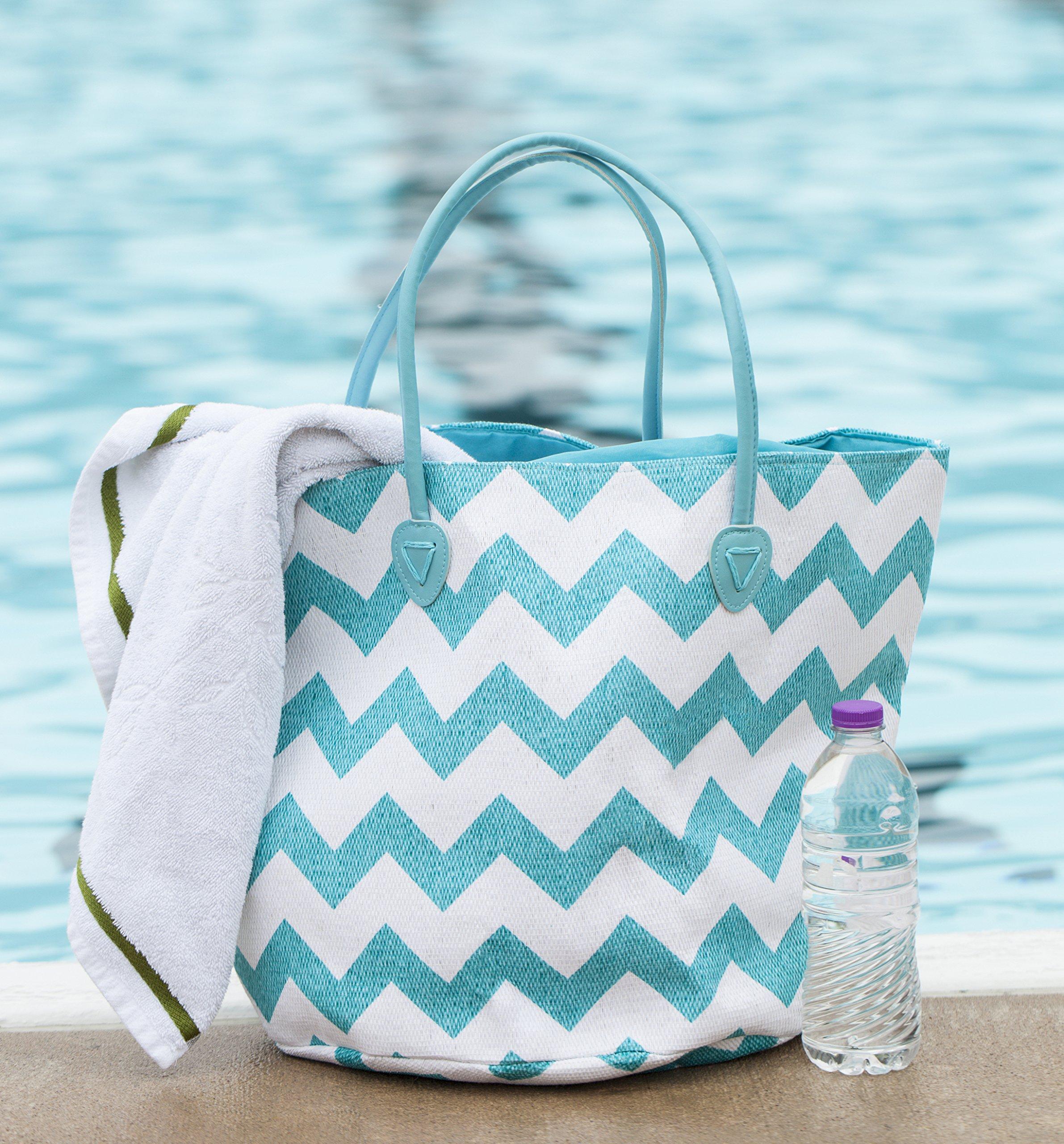 Beach Bag Large with Duffel Inner Drawstring Tote, Chevron Pattern (Light Blue White)