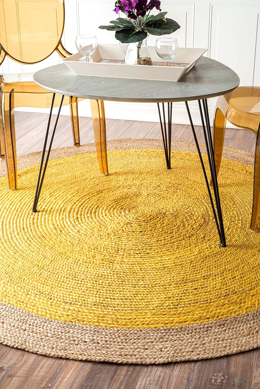 Nuloom Eleonora Hand Woven Jute Area Rug 6 Round Yellow Home Kitchen