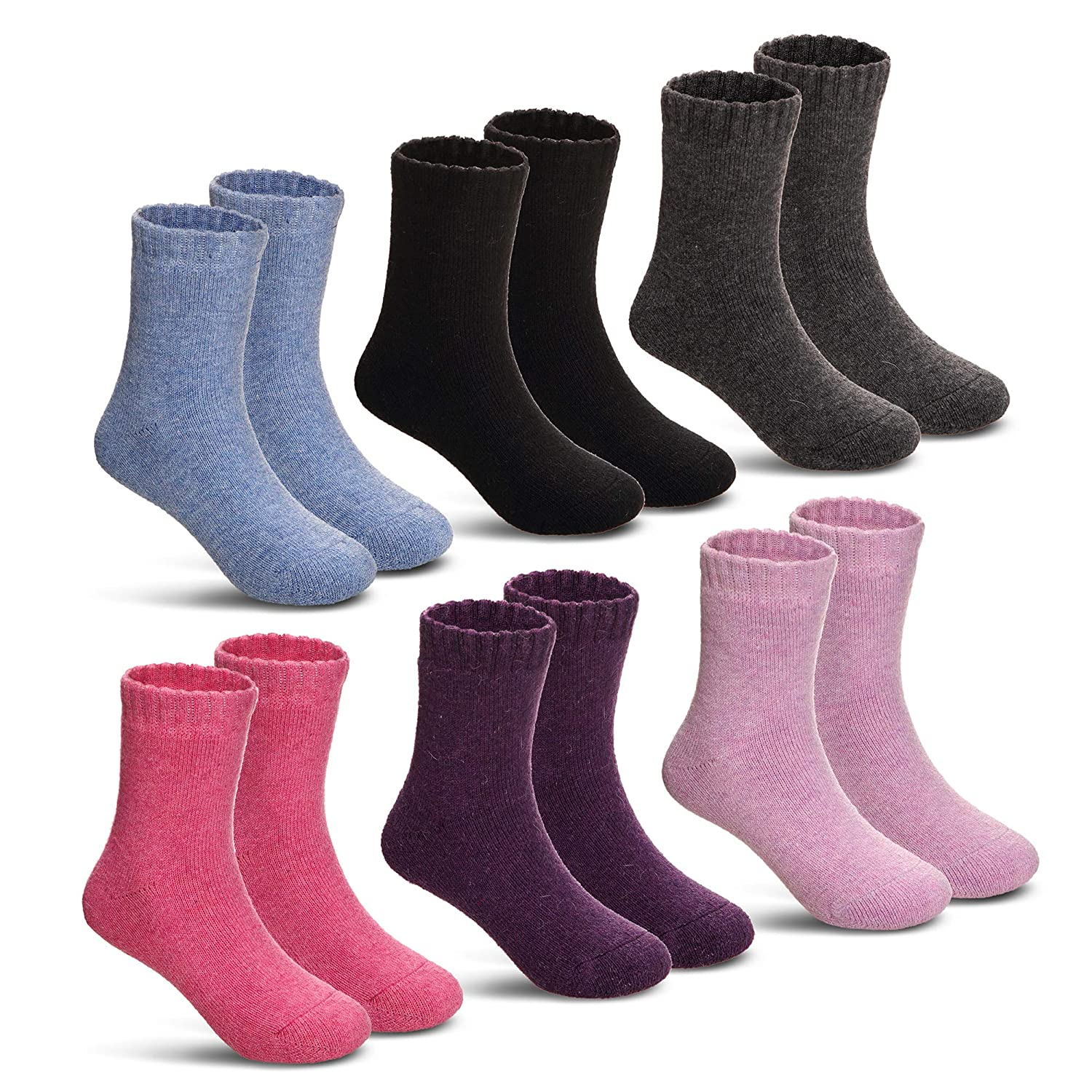 Children's Winter Warm Wool Solid Color Socks Kids Boy Girls Thermal Crew Socks 6 Pairs