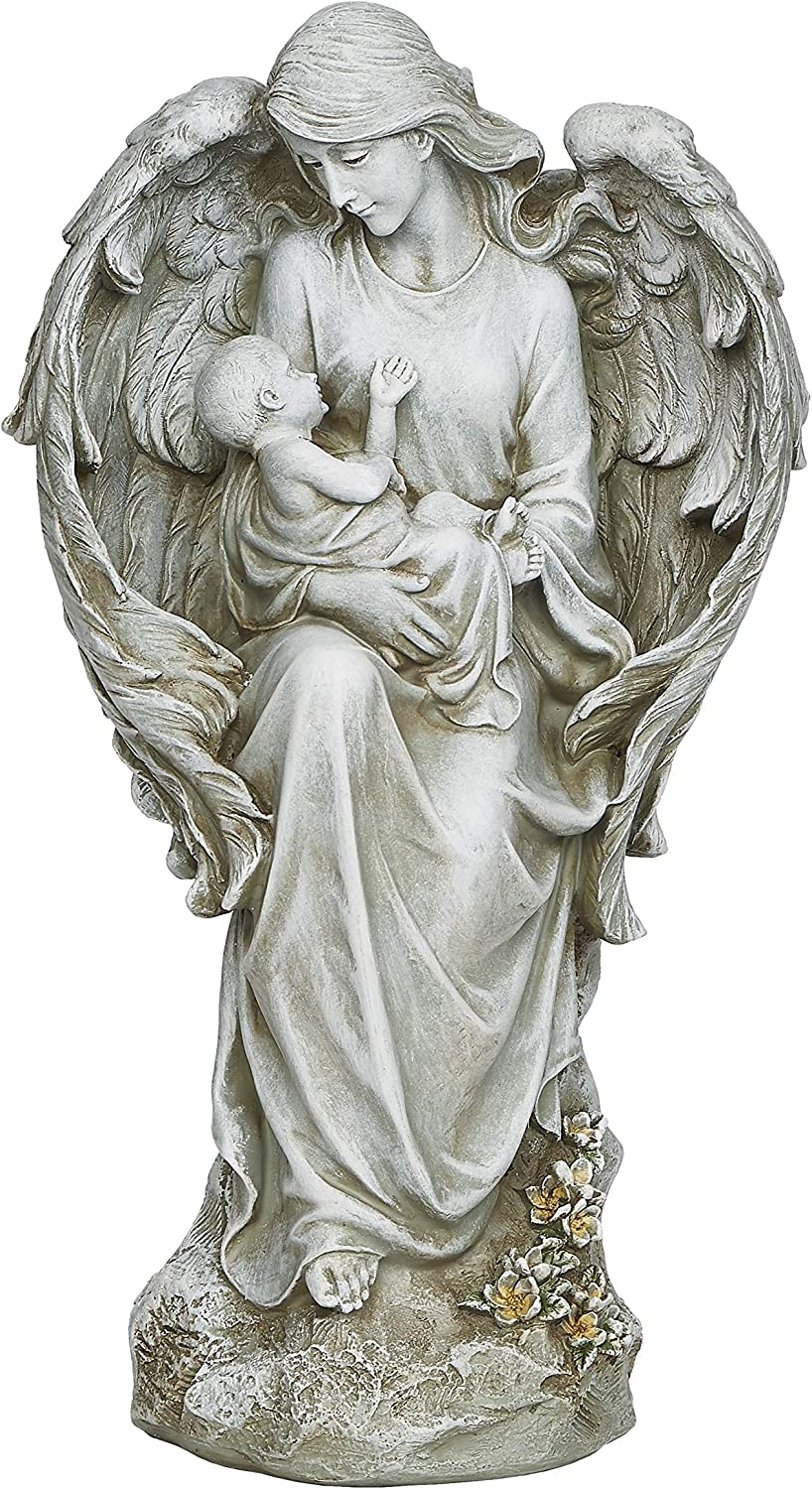 "Joseph's Studio by Roman - Angel with Baby Statue, 16.5"" H, Garden Collection, Resin and Stone, Decorative, Religious Gift, Home Outdoor and Indoor Decor, Durable, Long Lasting"