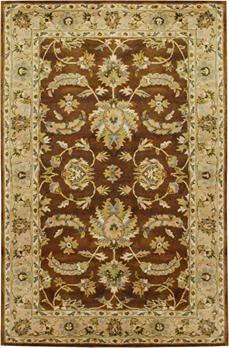 Amazon Com Herat Oriental Indo Hand Tufted Mahal Brown Beige Wool Rug 5 X 8 Furniture Decor
