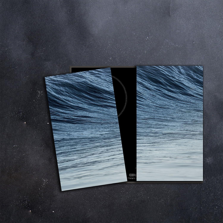 Glas-Herdabdeckplatte Ceranfeldabdeckung Zweiteilig 2x30x52 Metall Blau