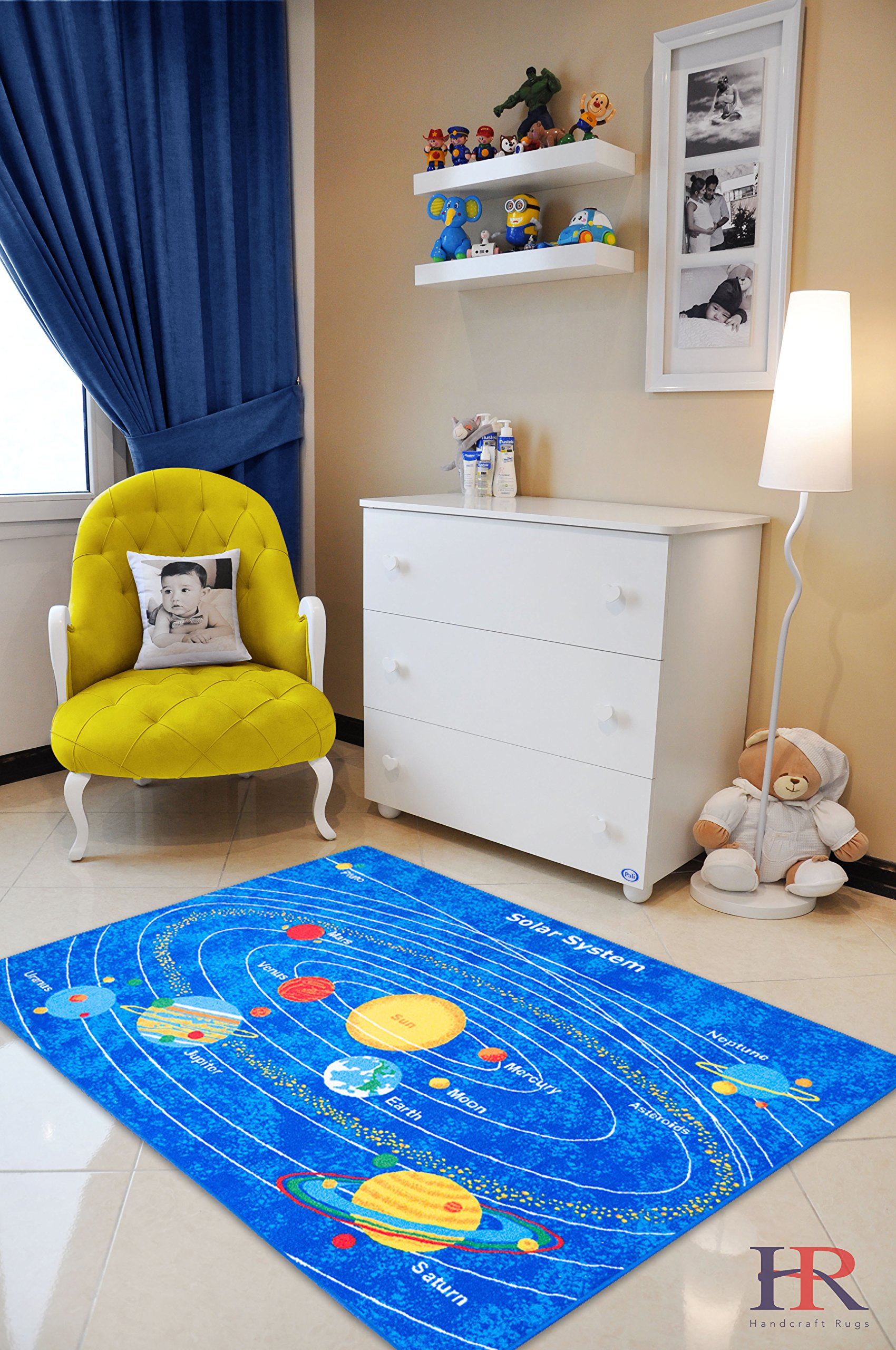 HR'S 5FTX7FT KIDS EDUCATIONAL SOLAR SYSTEM RUG. PLEASE CHECK ALL THE PICTURES