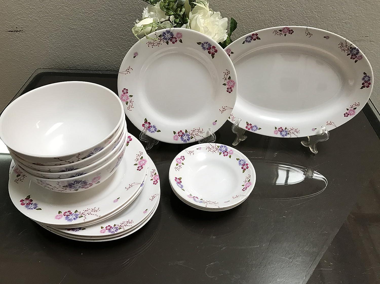 MrTableware 16-Piece Melamine Dinnerware Set Flower V212