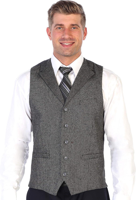Gioberti Mens 5 Button Tailored Collar Slim Fit Formal Herringbone Tweed Suit Vest