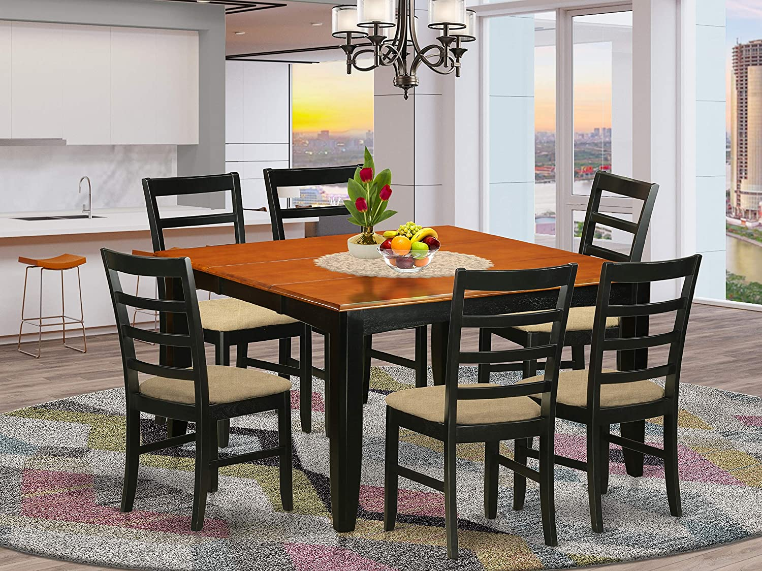 Amazon Com 7 Pc Formal Dining Room Set Square Dining Table With Leaf And 6 Dining Chairs Furniture Decor
