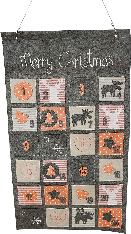 Khevga Calendario de Adviento para rellenar 2020, para niños y adultos, fieltro gris, 45 x 80 cm