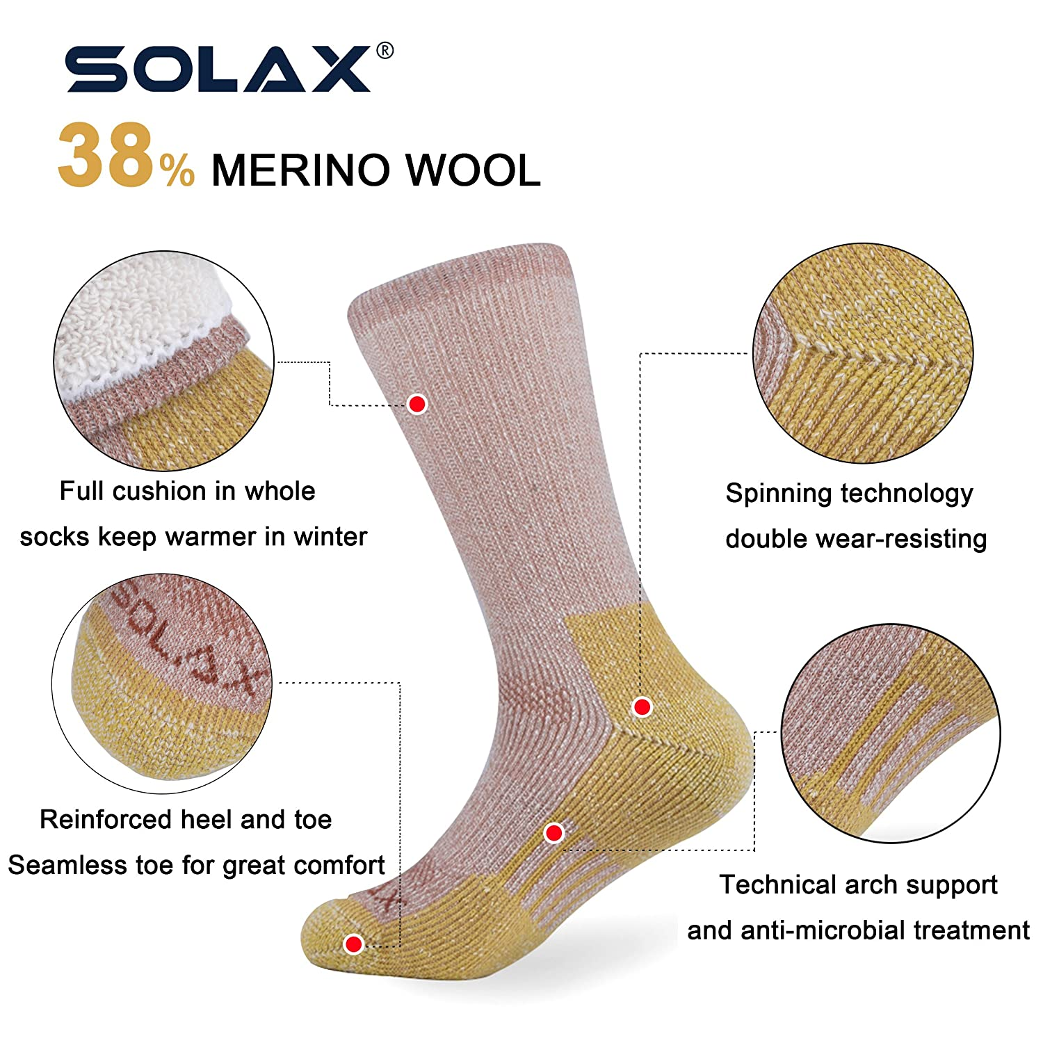 Amazon.com: SOLAX Womens Merino Wool Crew Socks Mujer Hiking Boot Sock Sport Calcetines Pack 2 Pairs (Size for 7-10.5 Brown): Clothing