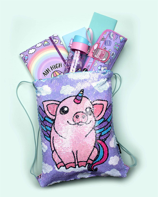 Fringoo Bolsa reversible de lentejuelas para ni/ños bolsa de nataci/ón para ni/ños mochila escolar bolsa de gimnasio mochila de viaje resistente al agua 43 x 34 cm