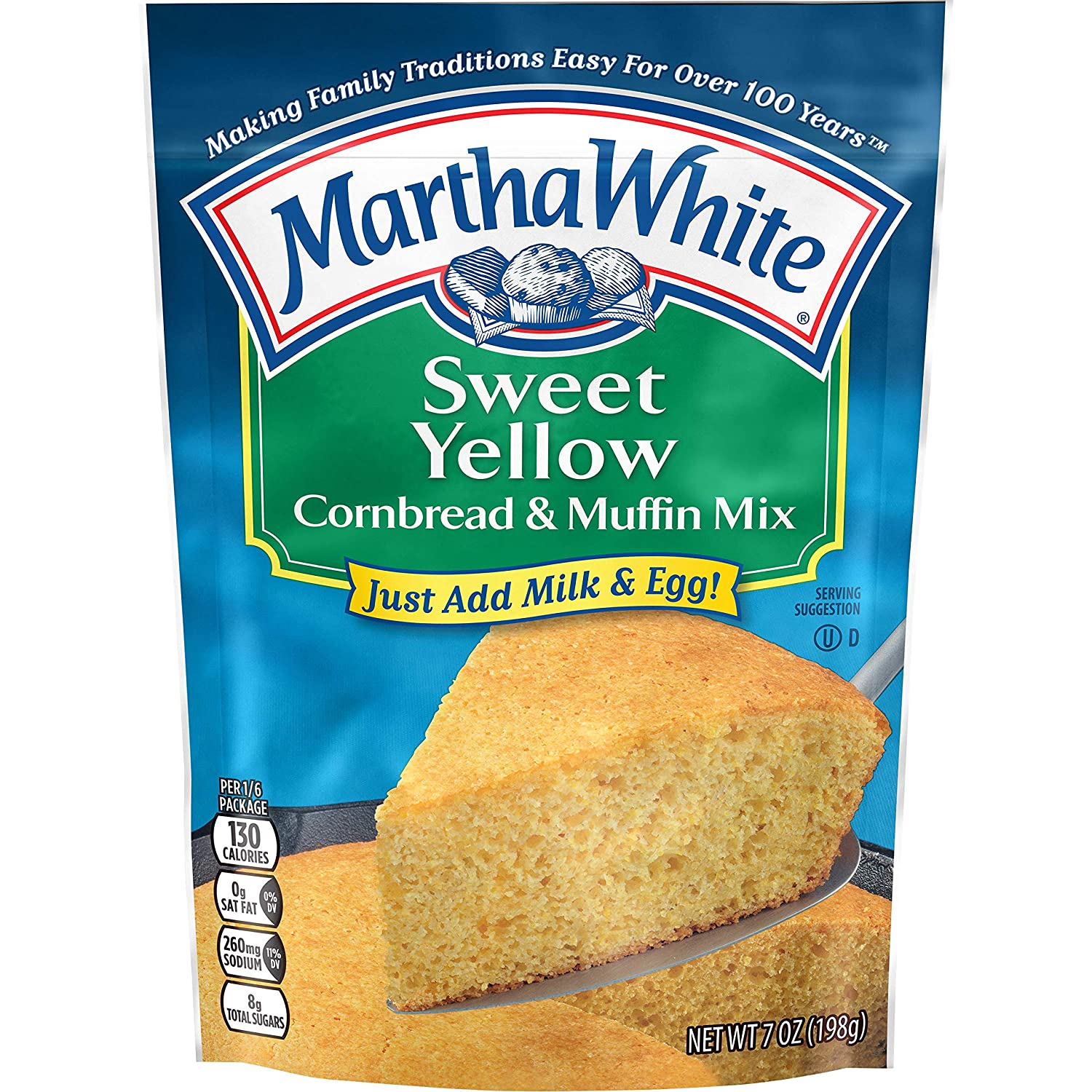 Martha White Sweet Yellow Cornbread and Muffin Mix, 7 Ounce (Pack of 12)