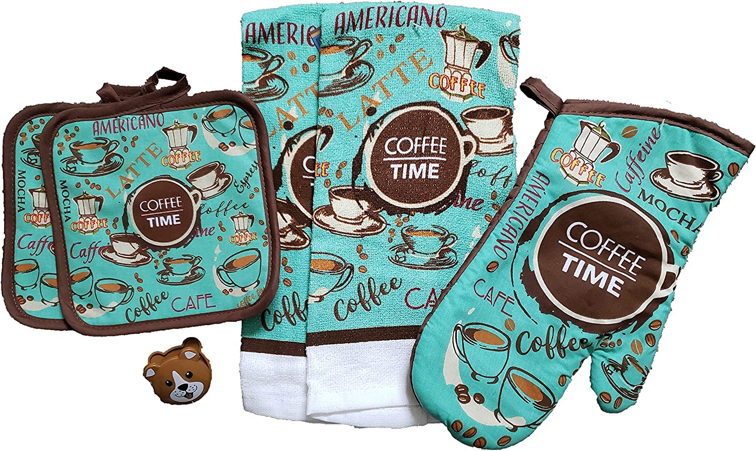 'Coffee Time' Sentiment Kitchen Towel Set with 2 Quilted Pot Holders, 2 Dish Towels and 1 Oven Mitt