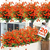20 Bundles Artificial Flowers for Outdoors Decoration, UV Resistant Faux Outdoor Plastic Greenery Shrubs Plants…