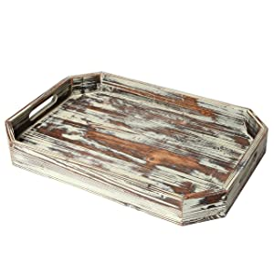 Rustic Torched Wood Serving Breakfast Tray, Coffee Server with Cut-out Handles and Angled Edges