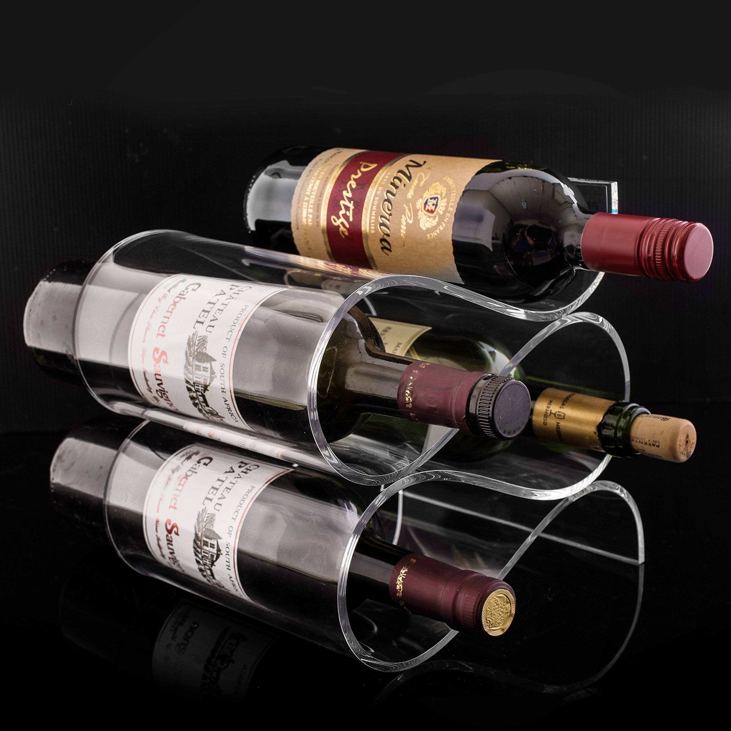 Premium Clear Acrylic Wave Design Countertop Wine Bottle Holder Rack - Holds up to 4 Bottles