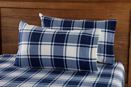 Great Bay Home Super Soft Extra Plush Plaid Fleece Sheet Set. Cozy, Warm, Durable, Smooth, Breathable Winter Sheets with Plaid Pattern. Dara Collection Brand. (King, Navy) best king size fleece sheets