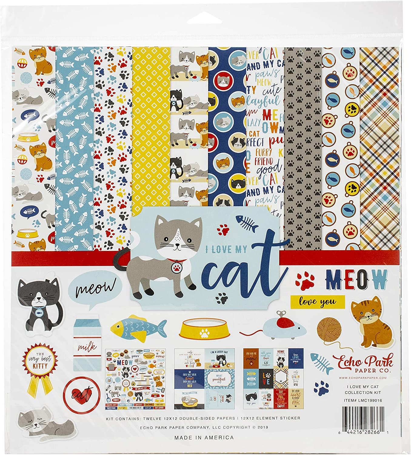 Elements ECHO PARK PAPER COMPANY I LOVE MY CAT STCKRS 12X12ELEMT
