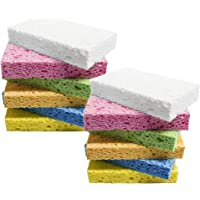 Scrub Sponge,Heavy Duty Color Cellulose Sponge,Clean Tough Messes Without Scratching (12 Pack)