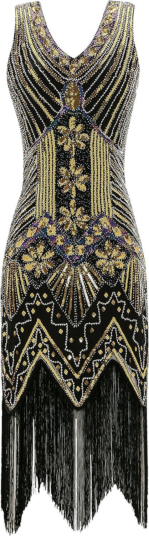 Metme Women's Flapper Dress 1920s V Neck Beaded Fringed Gatsby Theme Roaring 20s Dress for Prom