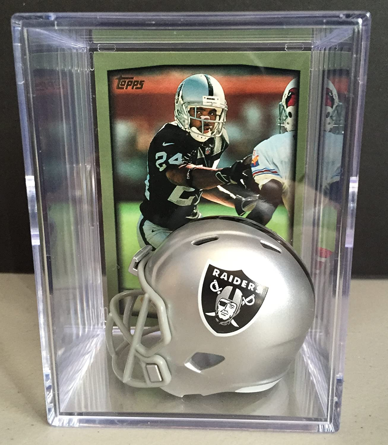 Oakland Raiders NFL Draft Helmet Shadowbox w/ Charles Woodson card Riddell
