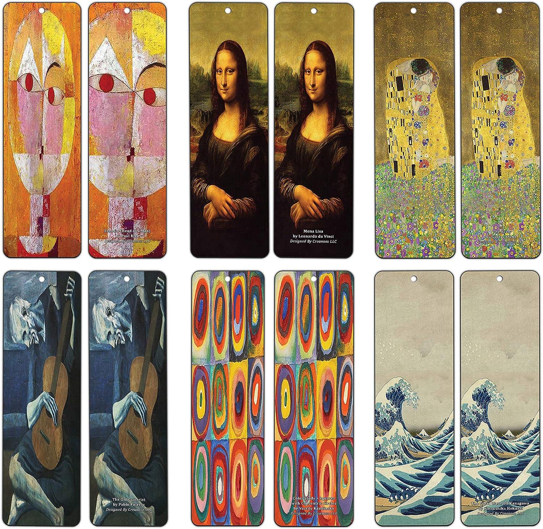 Wassily Kandinsky Creanoso Famous Classic Art Bookmarks Paul Klee Katsushika Hokusai Gustav Klimt 30-Pack Leonardo da Vinci - Pablo Picasso