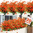 20 Bundles Artificial Fall Flowers for Outdoor Decoration, Fall Decoration UV Resistant Faux Outdoor Plastic Greenery Shrubs