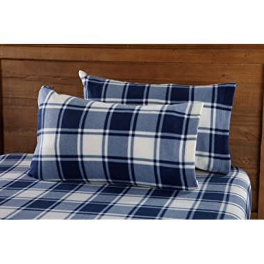 Great Bay Home Super Soft Extra Plush Plaid Polar Fleece Sheet Set. Cozy, Warm, Durable, Smooth, Breathable Winter Sheets with Plaid Pattern. Dara Collection Brand. (Queen, Navy)