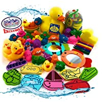 Mɑtty's Toy Stop 119pcs Ultimate Bath Toys Set Featuring Giant Rubber Duck, Bath Stickers, Mirrors, Crayons, Sponge, Mini Animals, Medium Animals, Stacking Boats, Foam Letters, Numbers & Storage Bag