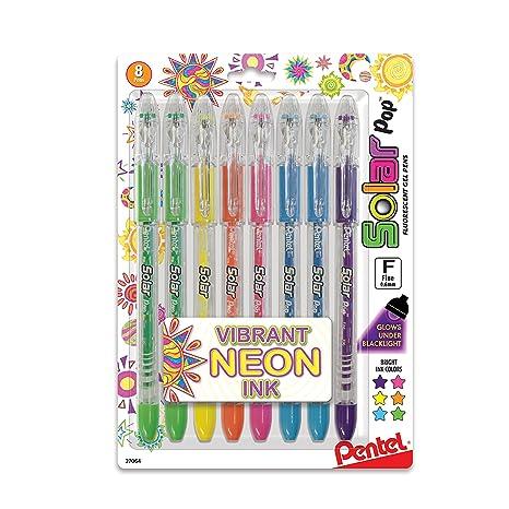 0620d4996e0 Pentel Solar Pop Neon Gel Pen, 0.6mm Fine Line, Assorted Colors, Pack of 8  (K96BP8M)