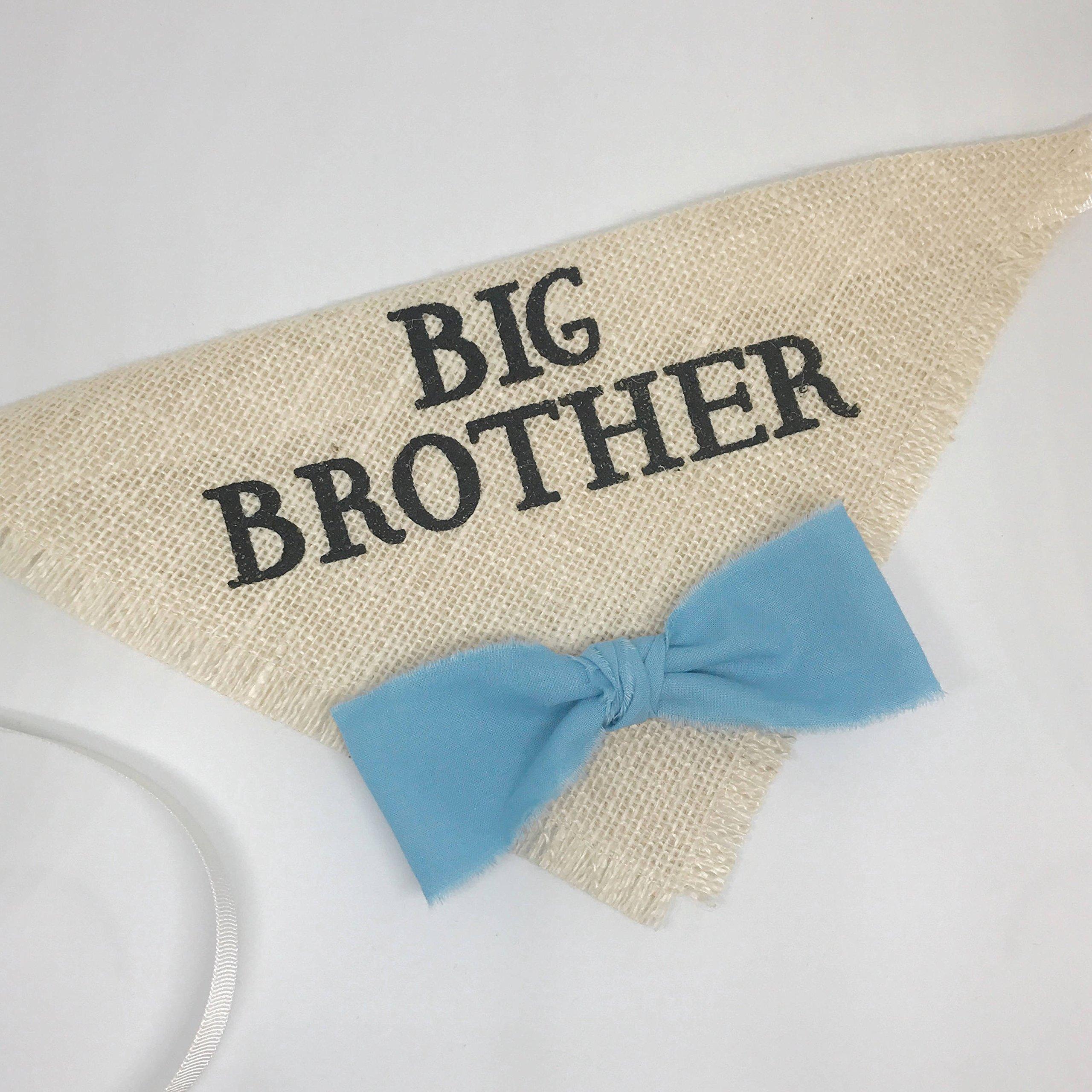 Hello Hazel Company Big Brother Dog Bandana with Blue Bow Tie by Hello Hazel Company