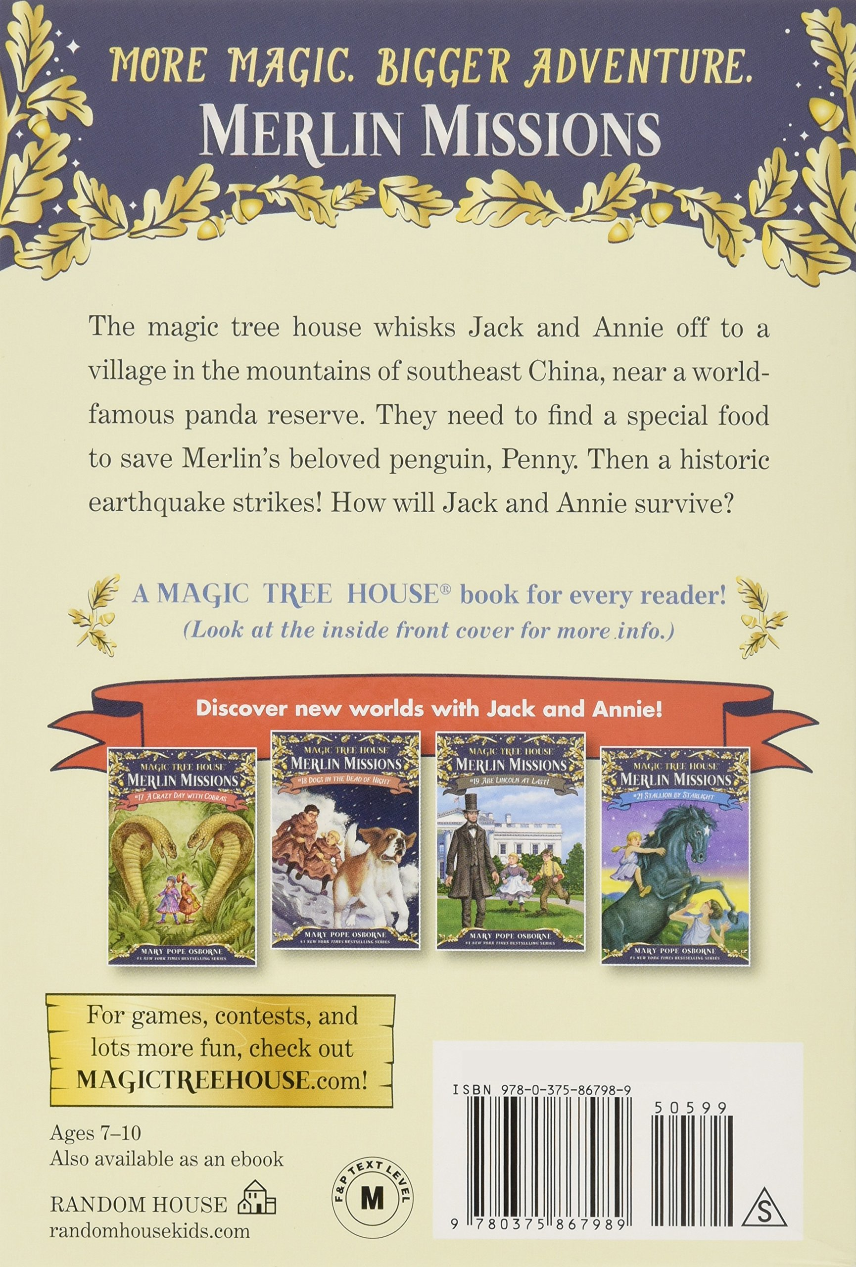 Author Of Magic Treehouse Books Part - 41: Amazon.com: A Perfect Time For Pandas (Magic Tree House (R) Merlin Mission)  (9780375867989): Mary Pope Osborne, Sal Murdocca: Books