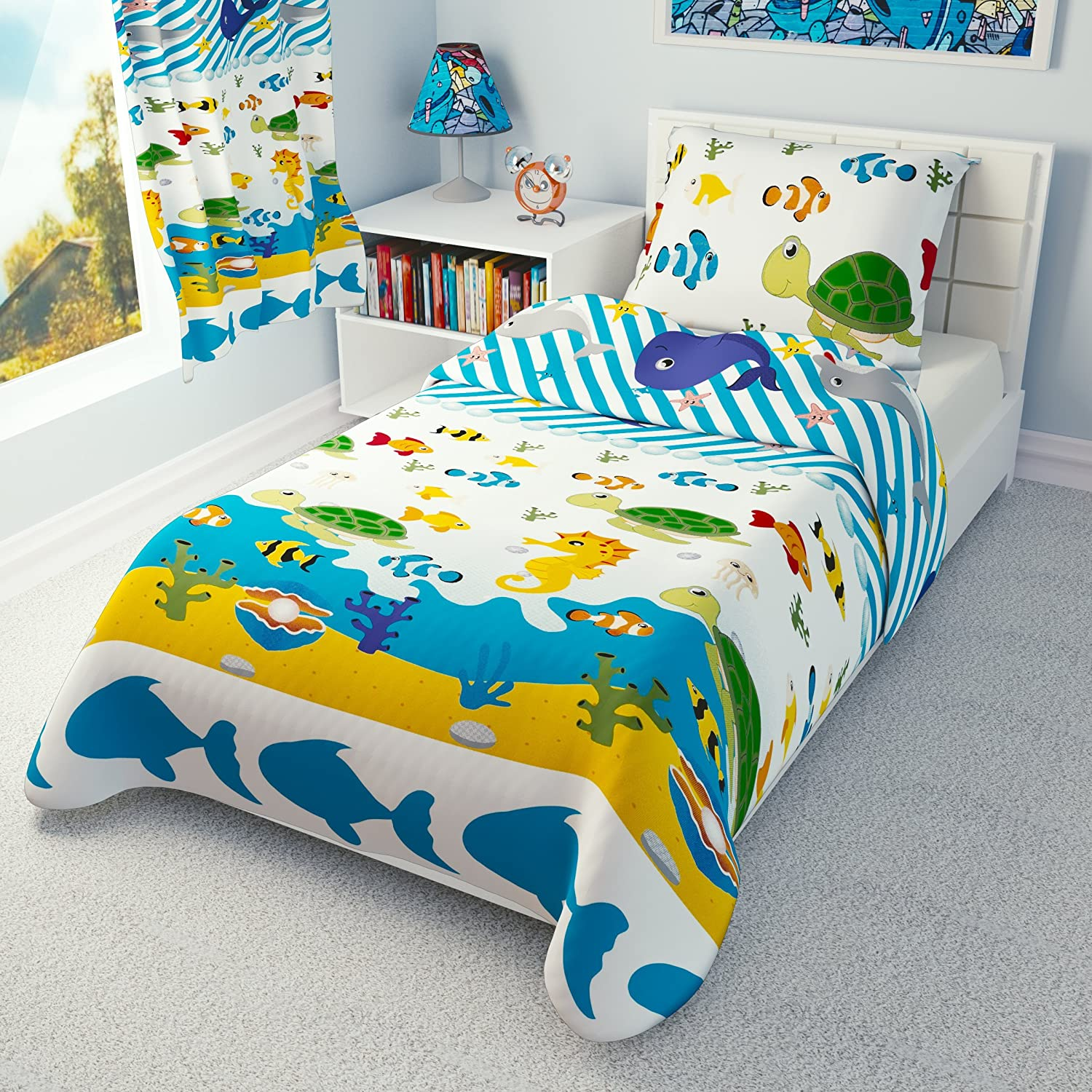 Children's Nautical Bedding - Girls Boys Duvet Cover and Pillowcase Cot/ Cot bed/ Toddler - SEA ANIMALS (90x120 cm) Babies-Island