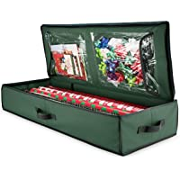 ZOBER Christmas Wrapping Paper Storage Box With Inside Pockets, 600D Oxford  Material Stores Up To