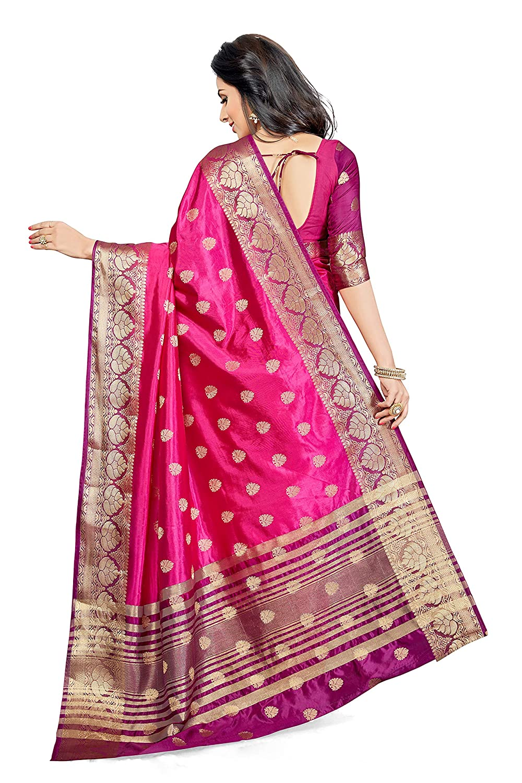 Pink Color Silk With Blouse Piece Saree