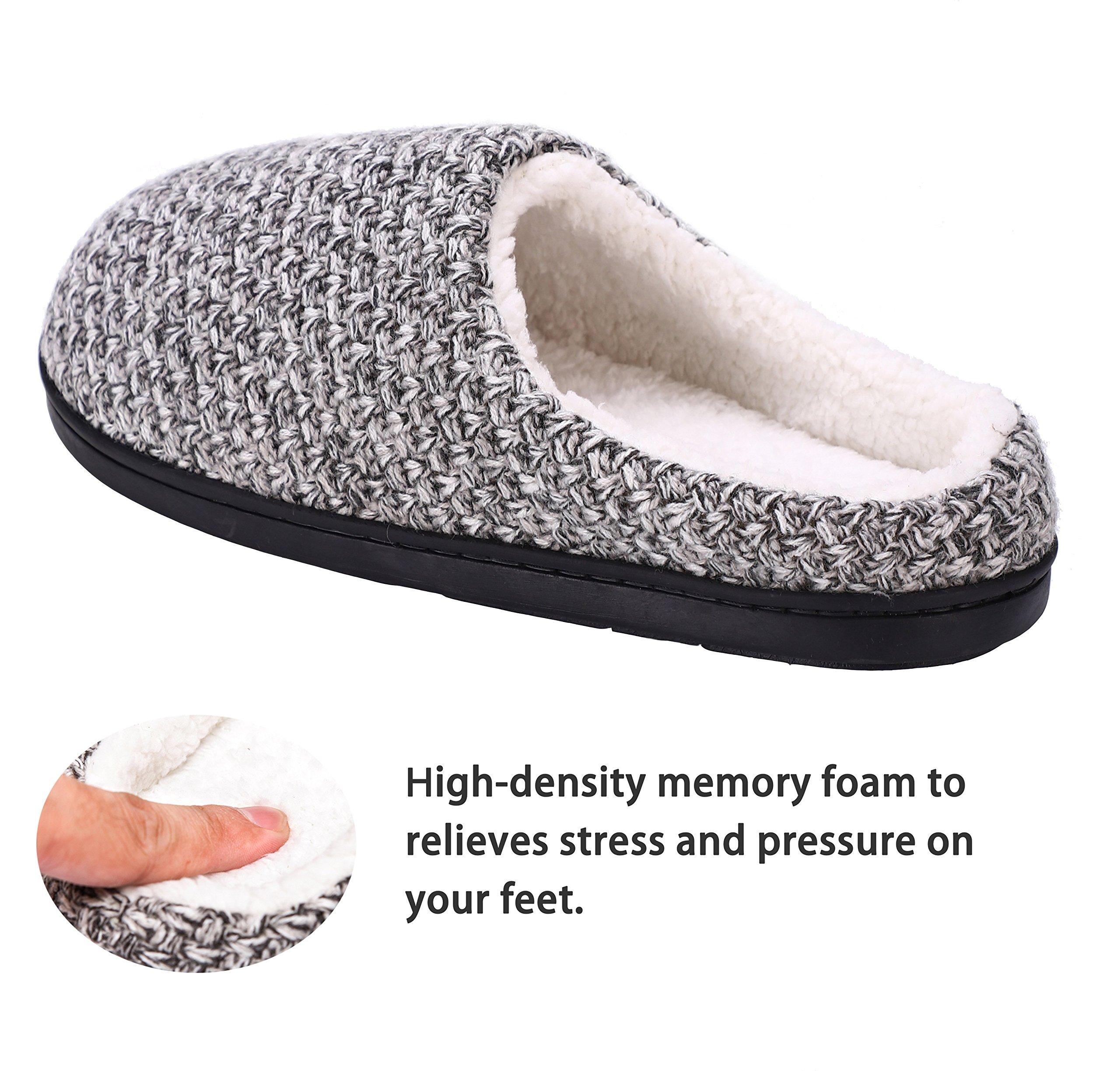 DRSLPAR House Memory Foam Slippers Comfort Plush Lining Slip-on Knit Indoor Outdoor Shoes for Men Women(Grey-Beige X-Large) by DRSLPAR (Image #3)