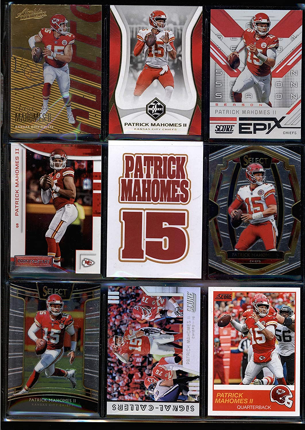 PATRICK MAHOMES 2019 Donruss Panini Lot of 9 Different Mixed Years Football Trading Cards Blind Pack Kansas City Chiefs w//Free Surprise Bonus Card!