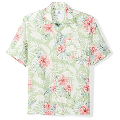 Amazon Brand - 28 Palms Men's Relaxed-Fit 100% Linen Reverse Print Shirt: Clothing