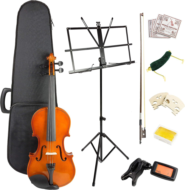 Windsor VIOLINSK44 - Kit para violín (incluye funda, arco, 2 x rosina, 2 x puente, cuerdas de repuesto, sintonizador digital, soporte de música y reposamuñecas): Amazon.es: Instrumentos musicales