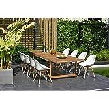 Brampton 9 Piece Outdoor Eucalyptus Extendable Dining Set | Perfect for Patio | with Teak Finish