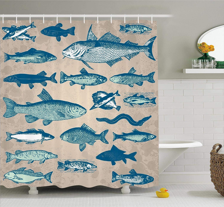 Bon Ambesonne Fish Shower Curtain Nautical Coastal Theme Marine Decor, Sea  Creatures Tropical Aquarioum Aqua Art Prints Fishing Underwater Beach  Bathroom ...