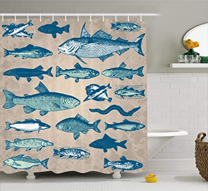 Ambesonne Fish Shower Curtain Nautical Coastal Theme Marine Decor Sea Creatures Tropical Aquarioum Aqua Art