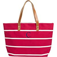 Cathy's Concepts Striped Tote with Leather Handles