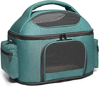 halinfer Pet Carrier for Large Cats and Small Dog, Fits up to 25 pounds Fat Cat Carrier, Collapsible Soft Side Carrier Airline Approved Under Seat (Pet Carrier Green)