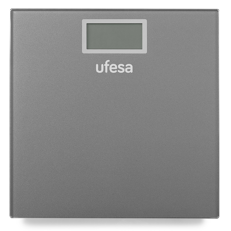 Ufesa BE0906 Báscula personal electrónica Rectángulo Gris - Báscula de baño (Báscula personal electrónica, 150 kg, 100 g, Rectángulo, Gris, 4 sensores): ...