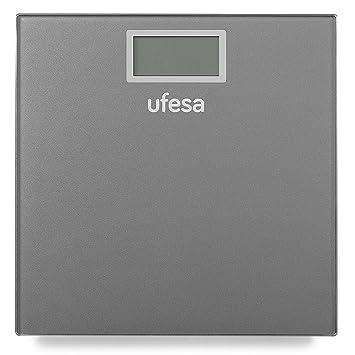 Ufesa BE0906 Báscula de Baño,29 x 28 cm diseño Slim de Alta, Unidades de Medida: kg/LB/st, Máx 150 kg/precisión 100g, Auto-Stop, Gris