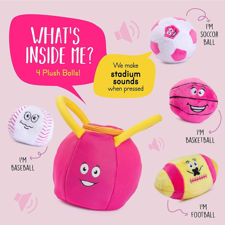 Plush Creations Gym Plush Bag with 4 Talking Soft Plush Balls Great Baby and Toddler Gift Gym Set Includes Plush Gym Bag Plush Basketball Plush Baseball Plush Soccer Ball and Plush Football